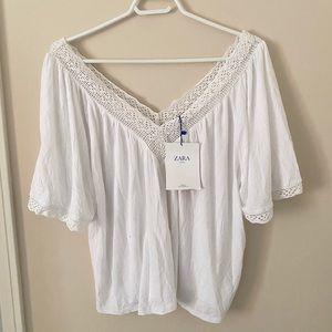 ZARA (NEW) Woman's White Off-Shoulder Blouse